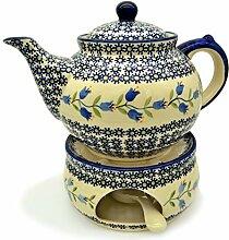 Bunzlauer Keramik Teekanne mit Stövchen (Dekor