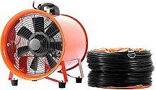 BuoQua Gebläse Lüfter 10 Zoll Industrie Ventilator 66 DB (A) 3300 R/Min Praktisch Tragbar Windmaschine Mit Grill Leise IP54 Ventilator Lüfter (Mit 5M Lüftungskanal)