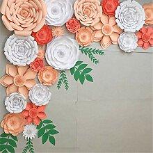 Bureze 30 cm DIY Papier Blumen Blätter