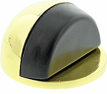 BURG-WÄCHTER Boden-Türstopper, Höhe: 25 mm, Durchmesser: 45 mm, Inkl. Befestigungsmaterial, TSB 2145 MP SB, Messing-polier