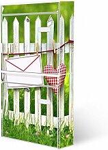 Burg-Wächter Briefkastenanlage, Design Foto Postkasten, Stahlblech weiß, MAIL 5877 W 36x64x10cm mit Motiv Gartenzaun
