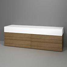 Burgbad Badewannen Sitzbank - Hocker Crono - Wannenmöbel mit dreiseitiger Verkleidung Holzoptik und gepolsterter Liegefläche- B: 1800 H: 600 T: 500