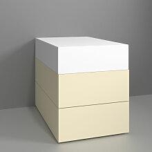 Burgbad Badewannen Sitzbank - Hocker Crono - Wannenmöbel mit dreiseitiger Verkleidung Lack und gepolsterter Sitzfläche- B: 500 H: 590-610 T: 800