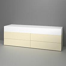 Burgbad Badewannen Sitzbank - Hocker Crono - Wannenmöbel mit dreiseitiger Verkleidung Lack und gepolsterter Liegefläche- B: 1800 H: 600 T: 500