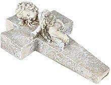 BURI Engel auf Kreuz 24cm Engelsfigur Gartendeko