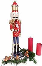 BURI Holz-Nussknacker 61cm Weihnachtsdeko