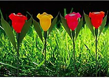 Buri LED-Solar-Blumenspieße 4er-Set Balkonkasten Gartenlampe Beetstecker Gartendeko