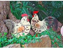 BURI Metall-Gartenstecker Huhn Beetstecker