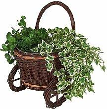 BURI Pflanzkarre aus Weide mit Folie