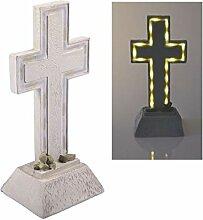 BURI Solar Grablicht Kreuz 28x13cm LED Grabschmuck