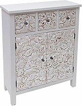 Burkina Home Decor Albaicin Regal 3Schubladen und Türen, Holz, Weiß, 65x 26x 82cm
