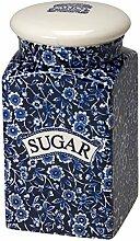 Burleigh Calico-Zucker quadratisch blau verdeckt Vorratsdose, NEU