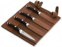 BURNHARD Steakmesser Messer mit Pakka-Holzgriff (4