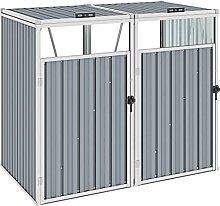 Butifooy Mülltonnenbox für 2 Mülltonnen Grau