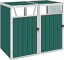 Butifooy Mülltonnenbox für 2 Mülltonnen Grün