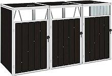 Butifooy Mülltonnenbox für 3 Mülltonnen Braun