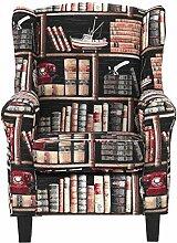 Butlers Chandler Ohrensessel Bibliothek im Landhausstil - Buchenholz massiv - Baumwolle, Polyester