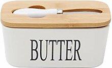 Butterdose aus Keramik mit Holzdeckel und