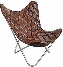 Butterfly Chair echt Leder Stuhl Sessel dunkel braun Vintage Design Loft Lounge