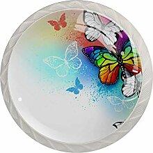 Butterfly Schubladenknauf, rund, Glas, mit