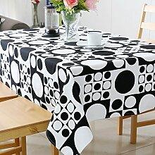 BUUYI Tischdecke Tischtuch Pflegeleicht American Style Schwarz Kreis 110x170cm Hochzeit Hotel Restaurant Modern einfach