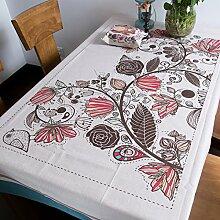 BUUYI Tischdecke Tischtuch Pflegeleicht Amerikanische styleRetro Blumen Vögel 180x130cm Hochzeit Hotel Restaurant Modern einfach
