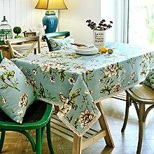BUUYI Tischdecke Tischtuch Pflegeleicht amerikanischen Stil Blau Blumen 110x110cm Hochzeit Hotel Restaurant Modern einfach