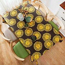 BUUYI Tischdecke Tischtuch Pflegeleicht amerikanischen Stil gelb 90x90cm Hochzeit Hotel Restaurant Modern einfach