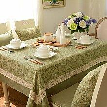 BUUYI Tischdecke Tischtuch Pflegeleicht amerikanischen Stil Grün 110x160cm Hochzeit Hotel Restaurant Modern einfach