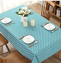 BUUYI Tischdecke Tischtuch Pflegeleicht Blau 110X170 cm