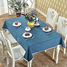 BUUYI Tischdecke Tischtuch Pflegeleicht chinesischen Stil Blau 120x130cm Hochzeit Hotel Restaurant Modern einfach