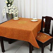 BUUYI Tischdecke Tischtuch Pflegeleicht chinesischen Stil Orange 150x150cm Hochzeit Hotel Restaurant Modern einfach
