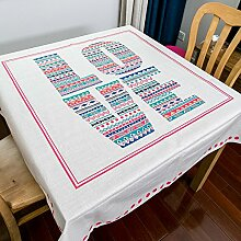 BUUYI Tischdecke Tischtuch Pflegeleicht Einfach kreativ 140x140cm Hochzeit Hotel Restaurant Modern einfach