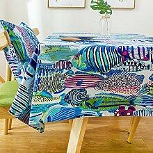 BUUYI Tischdecke Tischtuch Pflegeleicht Einfache Blau Fisch 110x170cm Hochzeit Hotel Restaurant Modern einfach