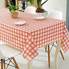 BUUYI Tischdecke Tischtuch Pflegeleicht Einfache Rot Grid 137x220cm Hochzeit Hotel Restaurant Modern einfach