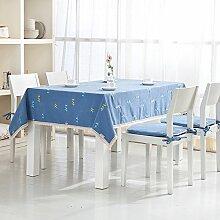 BUUYI Tischdecke Tischtuch Pflegeleicht Einfachen und modernen europäischen Stil blau 130 X 180 cm Hochzeit Hotel Restauran