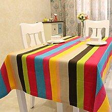 BUUYI Tischdecke Tischtuch Pflegeleicht Einfacher Stil Streifen 140x160cm Hochzeit Hotel Restaurant Modern einfach