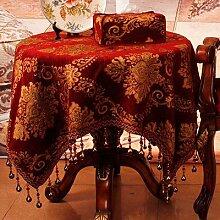 BUUYI Tischdecke Tischtuch Pflegeleicht Farbe Spitze Braun 130x180cm Hochzeit Hotel Restaurant Modern einfach