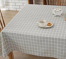 BUUYI Tischdecke Tischtuch Pflegeleicht Grau Raster 110X170 cm