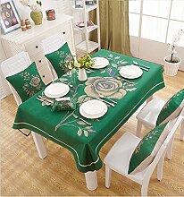 BUUYI Tischdecke Tischtuch Pflegeleicht Grün 200x140cm Hochzeit Hotel Restaurant Modern einfach