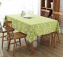BUUYI Tischdecke Tischtuch Pflegeleicht Grün Stickerei 130X180 cm