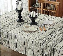 BUUYI Tischdecke Tischtuch Pflegeleicht Im europäischen Stil retro Holz- Getreide- 90 x 150 cm. Hochzeit Hotel Restauran