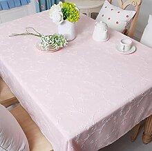 BUUYI Tischdecke Tischtuch Pflegeleicht Im europäischen Stil rosa 200 X 140 cm Hochzeit Hotel Restauran