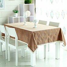 BUUYI Tischdecke Tischtuch Pflegeleicht Im europäischen Stil Braun 130 X 180 cm Hochzeit Hotel Restauran