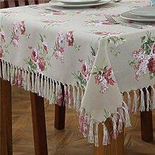 BUUYI Tischdecke Tischtuch Pflegeleicht Im europäischen Stil Rose 135 X 135 cm Hochzeit Hotel Restauran