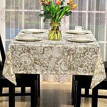 BUUYI Tischdecke Tischtuch Pflegeleicht Im europäischen Stil Braun 135 X 200 cm Hochzeit Hotel Restauran