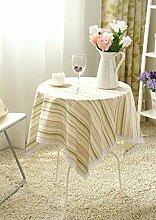 BUUYI Tischdecke Tischtuch Pflegeleicht Im europäischen Stil Kreis Streifen 130 X 130 cm Hochzeit Hotel Restauran