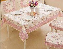 BUUYI Tischdecke Tischtuch Pflegeleicht Im europäischen Stil Rosa Streifen rosa 140 Cmx 140 cm Hochzeit Hotel Restauran