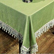 BUUYI Tischdecke Tischtuch Pflegeleicht Im europäischen Stil grün 130 x 220 cm Hochzeit Hotel Restauran