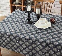BUUYI Tischdecke Tischtuch Pflegeleicht Im europäischen Stil retro blau 140 X 220 cm Hochzeit Hotel Restauran